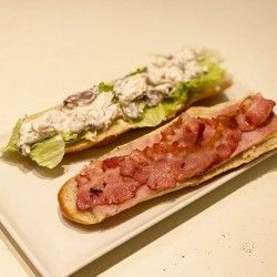Donostia La Mina sandwich with lettuce, chicken with mayonnaise and mushrooms, bacon, ham and cheese
