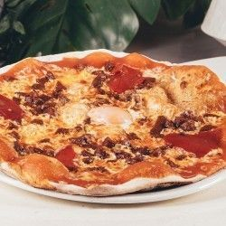 to take away donostia pizza with mozzarella, tomato, Rioja chorizo, piquillo pepper and egg